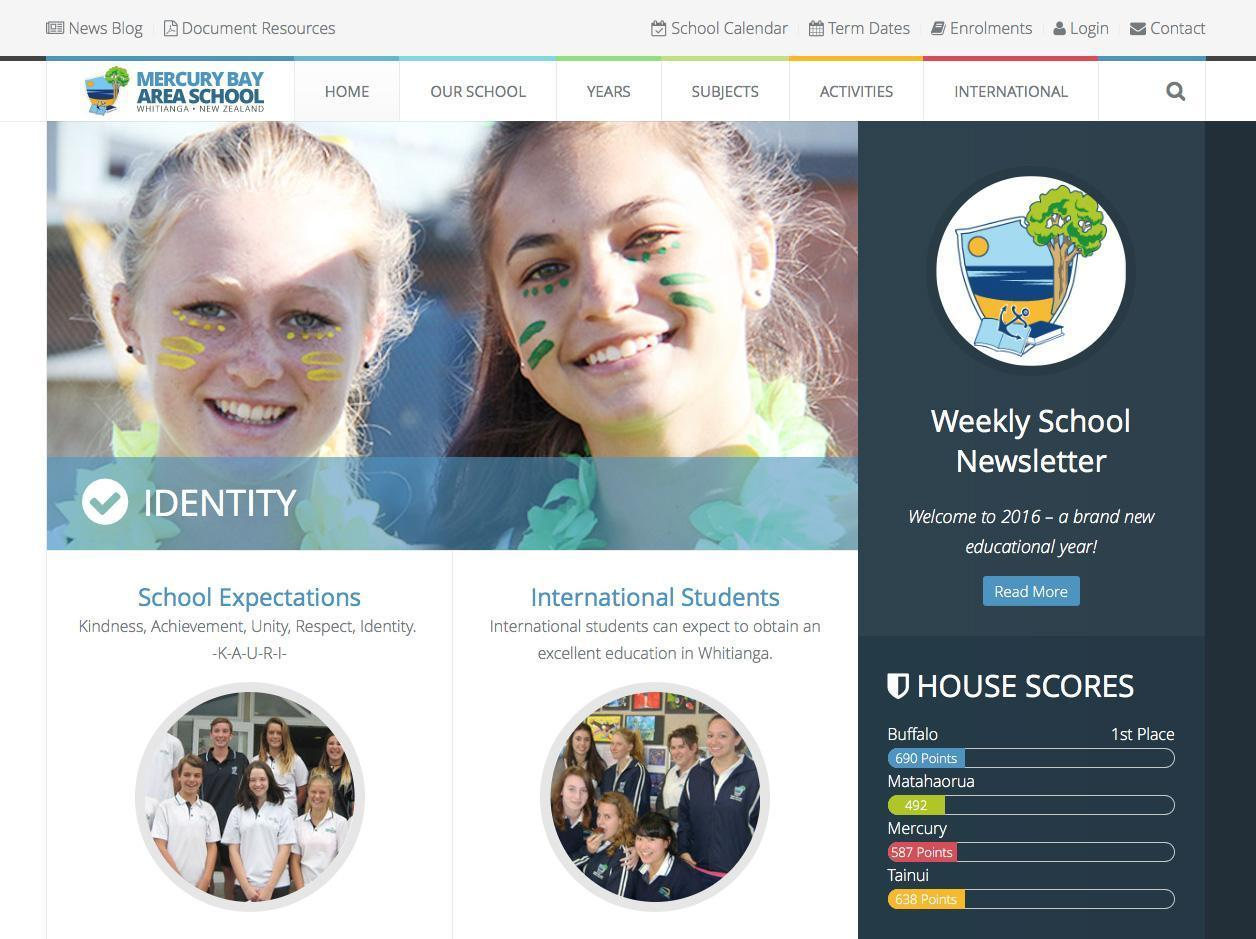 Mercury Bay Area School New Website