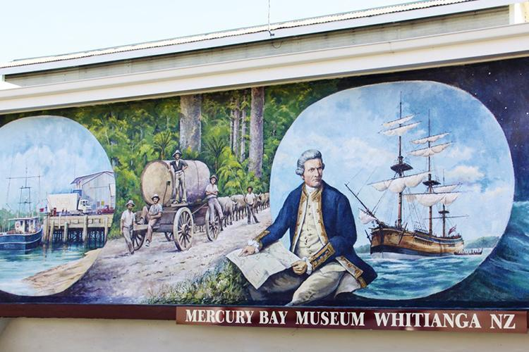 Captain Cook mural painted on Mercury Bay Museum